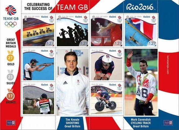 Isle of Man Post Office issues sheetlet celebrating Team GB's unprecedented success at Rio 2016